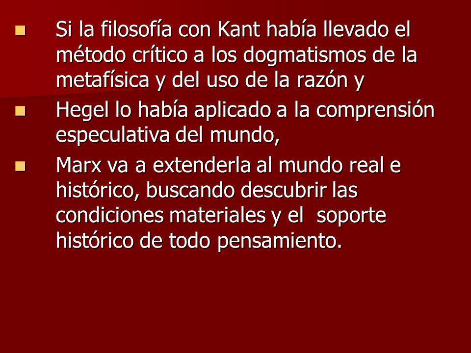 Si la filosofía con Kant había llevado el método crítico a los dogmatismos de la metafísica y del uso de la razón y Si la filosofía con Kant había lle