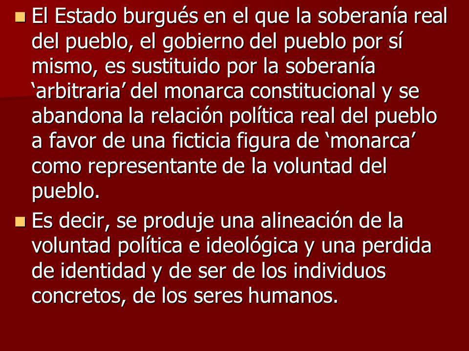 El Estado burgués en el que la soberanía real del pueblo, el gobierno del pueblo por sí mismo, es sustituido por la soberanía arbitraria del monarca c
