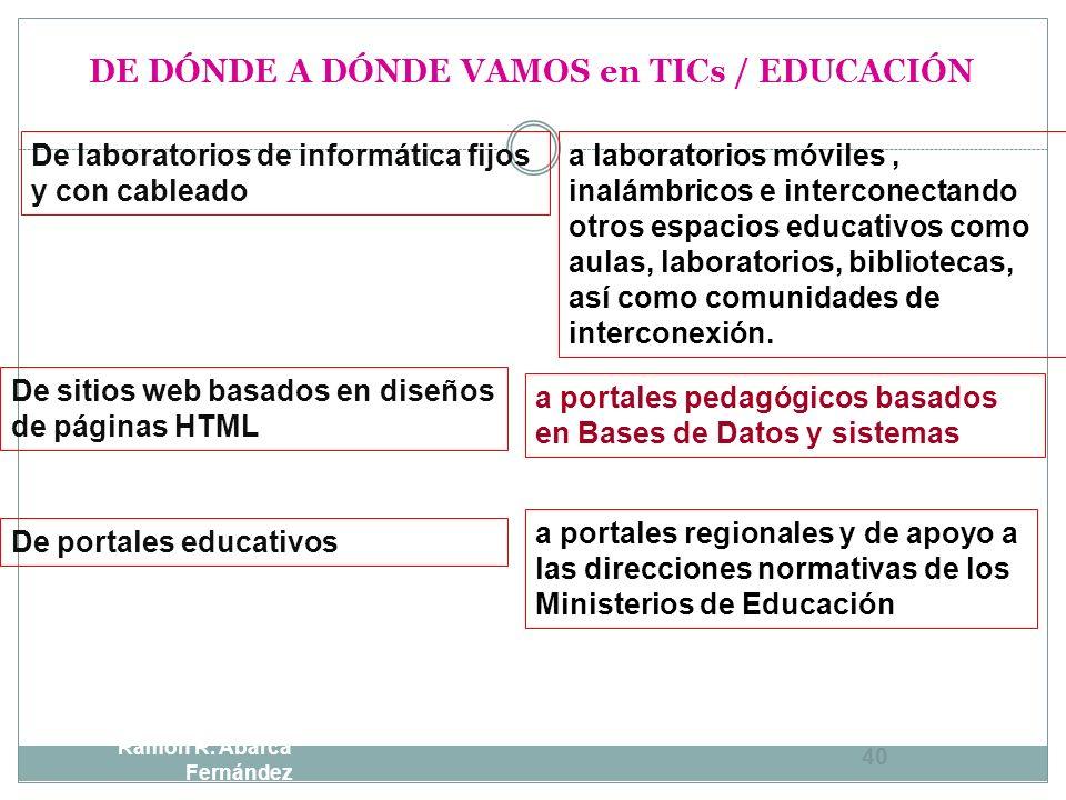 DE DÓNDE A DÓNDE VAMOS en TICs / EDUCACIÓN DEA Ramón R. Abarca Fernández 39 Alumnos usuarios de software Alumnos formando parte de una comunidad de cr