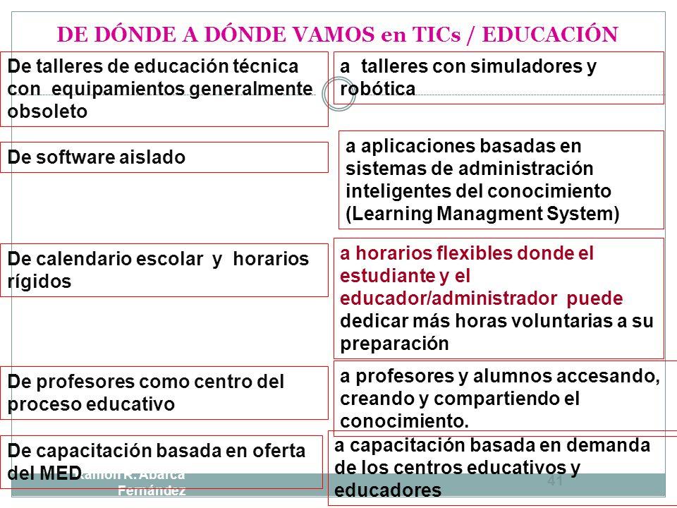 DE DÓNDE A DÓNDE VAMOS en TICs / EDUCACIÓN Ramón R. Abarca Fernández 40 De laboratorios de informática fijos y con cableado a laboratorios móviles, in