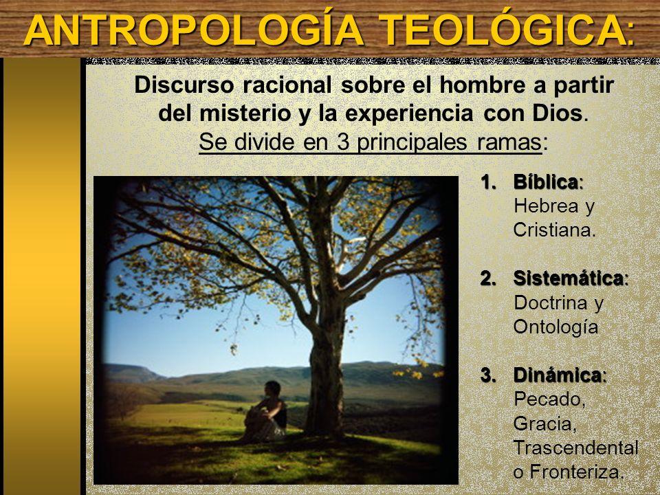 Discurso racional sobre el hombre a partir del misterio y la experiencia con Dios. Se divide en 3 principales ramas: 1.Bíblica: Hebrea y Cristiana. 2.