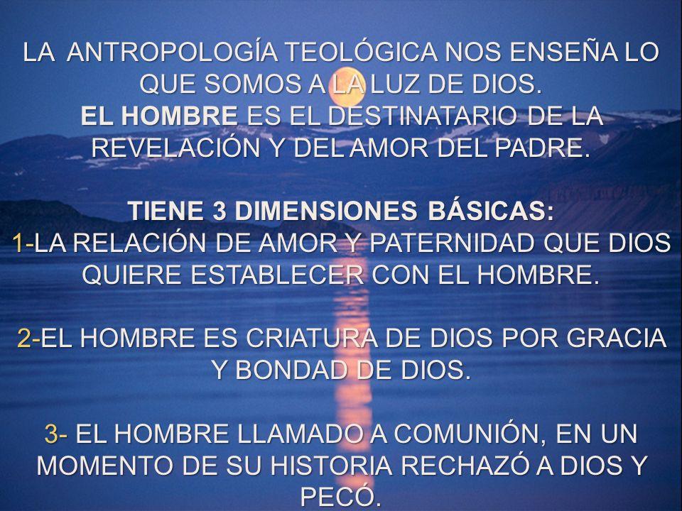 LA ANTROPOLOGÍA TEOLÓGICA NOS ENSEÑA LO QUE SOMOS A LA LUZ DE DIOS. EL HOMBRE ES EL DESTINATARIO DE LA REVELACIÓN Y DEL AMOR DEL PADRE. TIENE 3 DIMENS