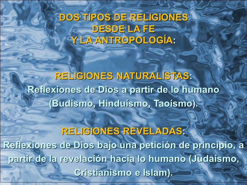 DOS TIPOS DE RELIGIONES DESDE LA FE Y LA ANTROPOLOGÍA: RELIGIONES NATURALISTAS: Reflexiones de Dios a partir de lo humano (Budismo, Hinduísmo, Taoísmo