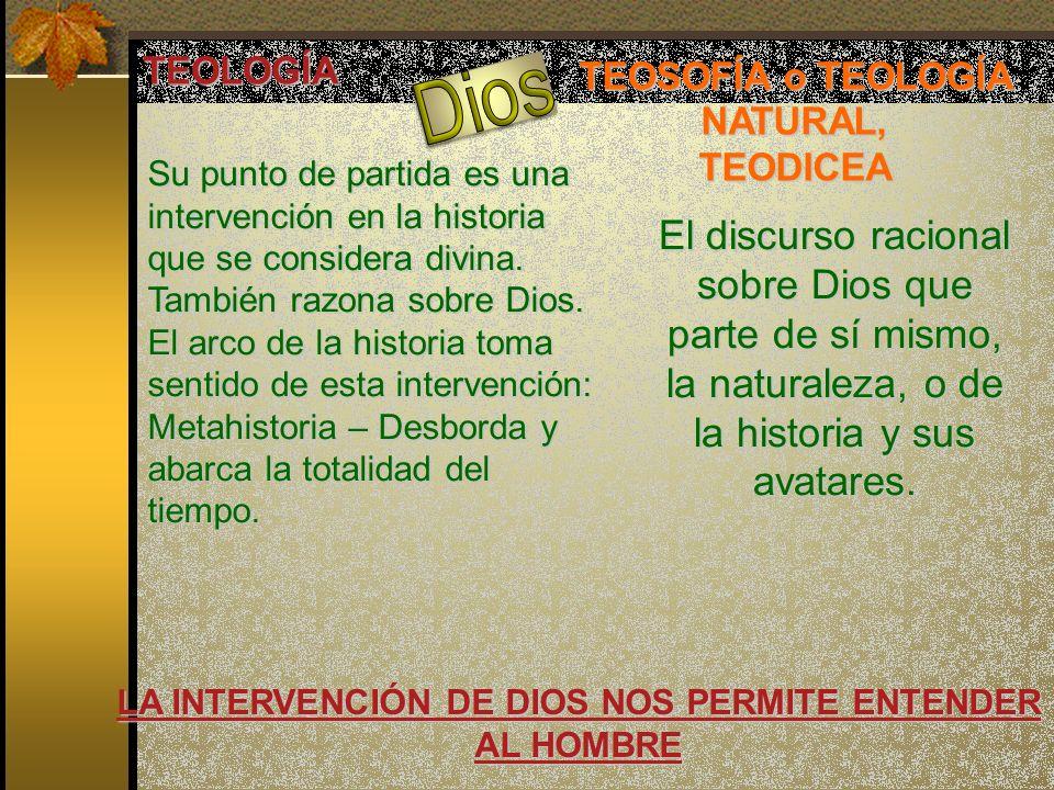 TEOLOGÍA TEOSOFÍA o TEOLOGÍA NATURAL, TEODICEA El discurso racional sobre Dios que parte de sí mismo, la naturaleza, o de la historia y sus avatares.