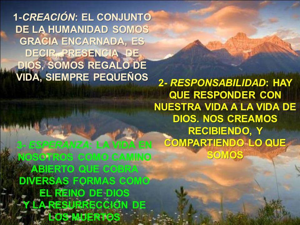 1-CREACIÓN: EL CONJUNTO DE LA HUMANIDAD SOMOS GRACIA ENCARNADA, ES DECIR, PRESENCIA DE DIOS, SOMOS REGALO DE VIDA, SIEMPRE PEQUEÑOS 2- RESPONSABILIDAD