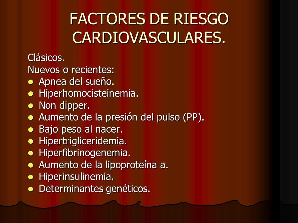 FACTORES DE RIESGO CARDIOVASCULARES.Clásicos. Nuevos o recientes: Apnea del sueño.
