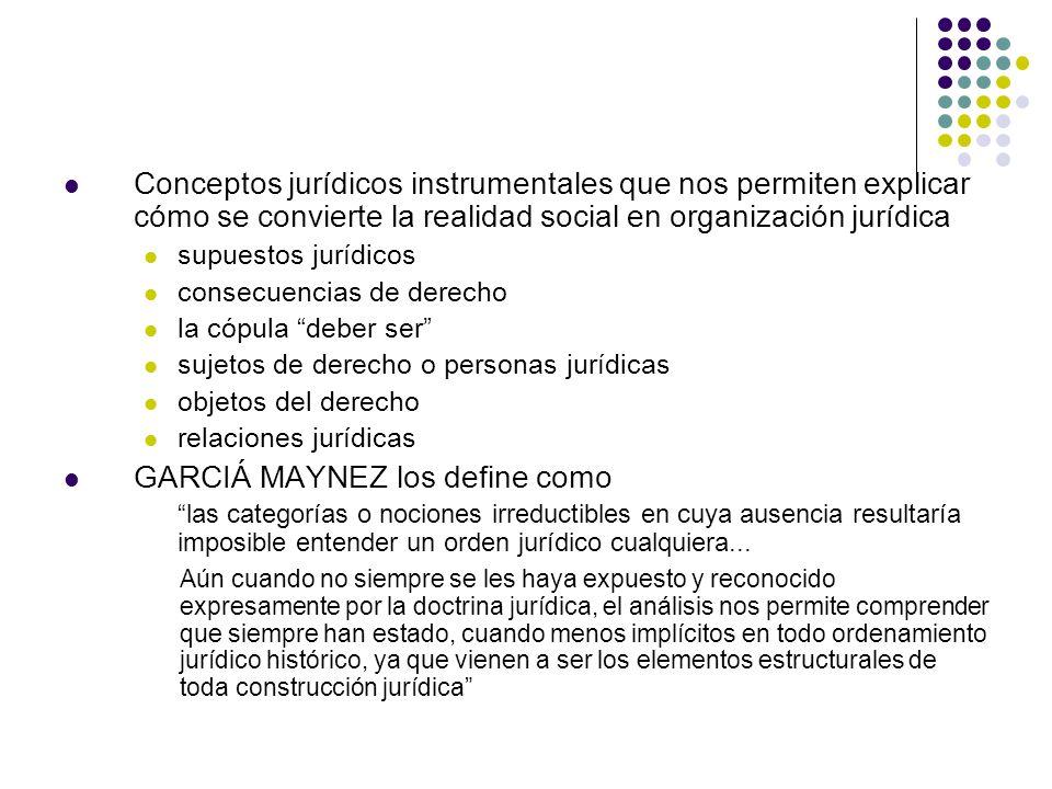 Conceptos jurídicos instrumentales que nos permiten explicar cómo se convierte la realidad social en organización jurídica supuestos jurídicos consecu