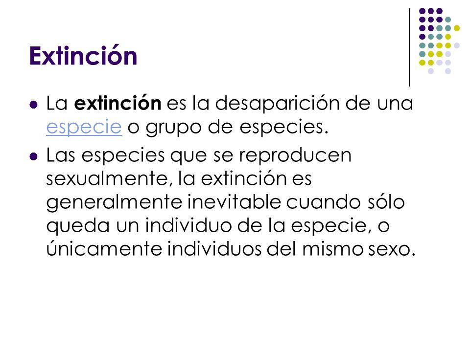 Extinción La extinción es la desaparición de una especie o grupo de especies. especie Las especies que se reproducen sexualmente, la extinción es gene