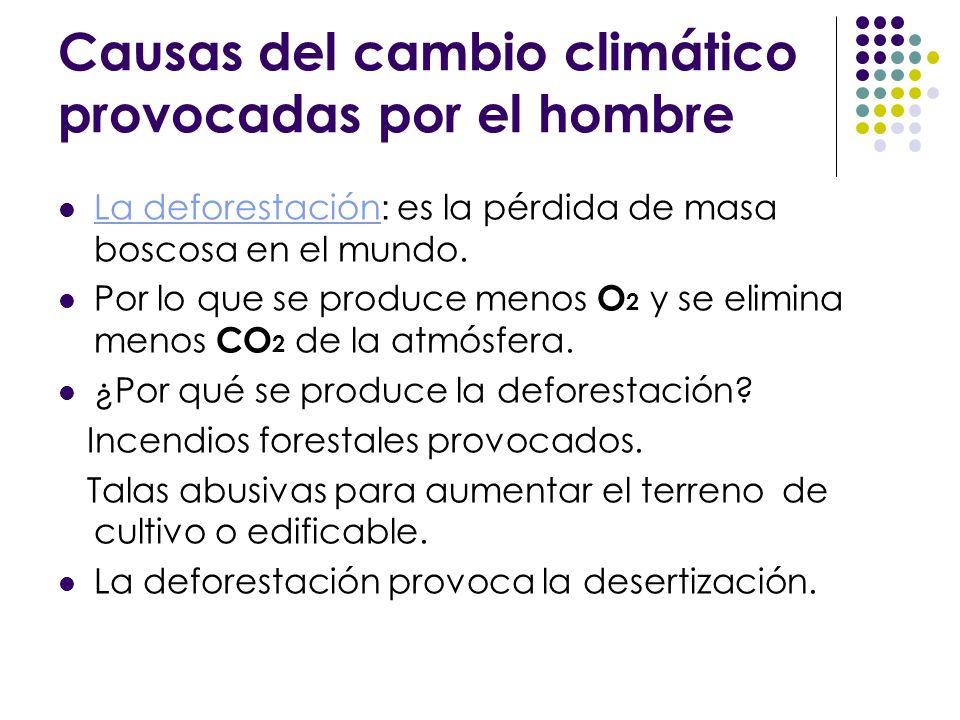 Causas del cambio climático provocadas por el hombre La deforestación : es la pérdida de masa boscosa en el mundo. Por lo que se produce menos O 2 y s