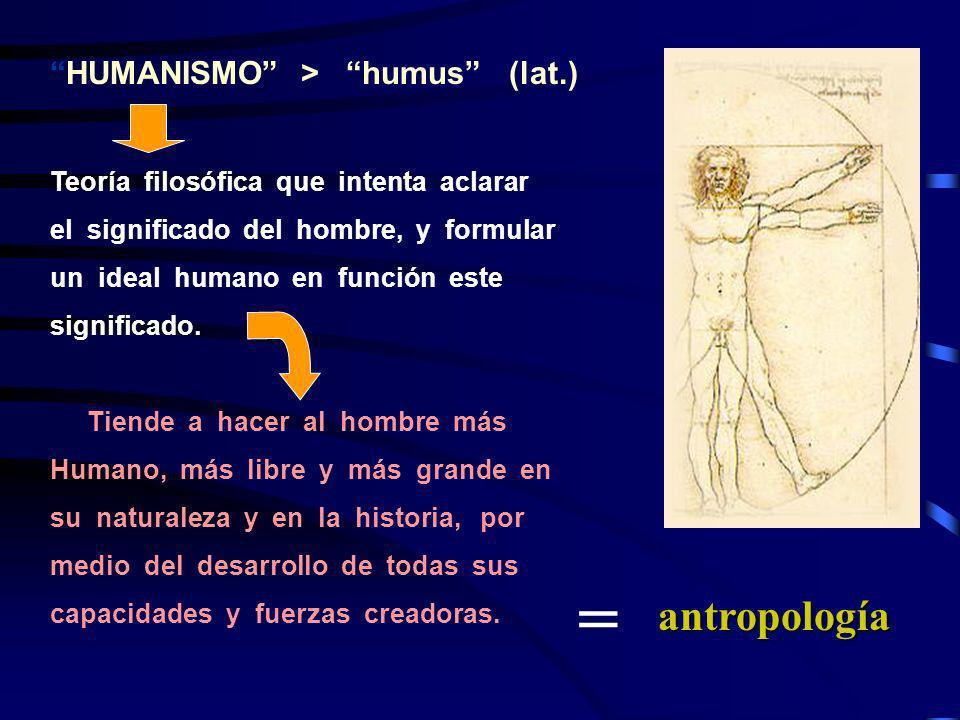HUMANISMO > humus (lat.) Teoría filosófica que intenta aclarar el significado del hombre, y formular un ideal humano en función este significado. Tien