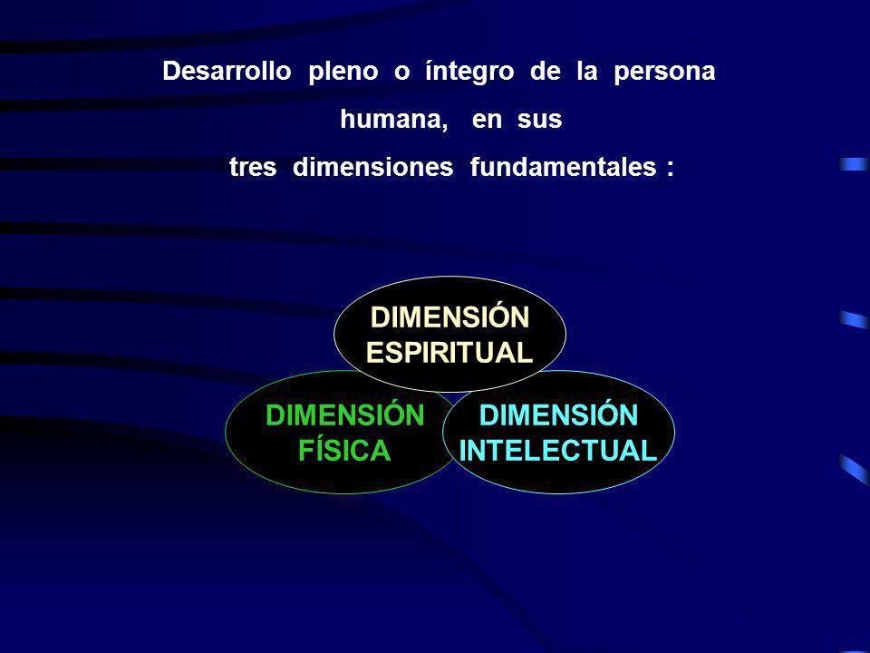 Desarrollo pleno o íntegro de la persona humana, en sus tres dimensiones fundamentales : DIMENSIÓN FÍSICA DIMENSIÓN INTELECTUAL DIMENSIÓN ESPIRITUAL