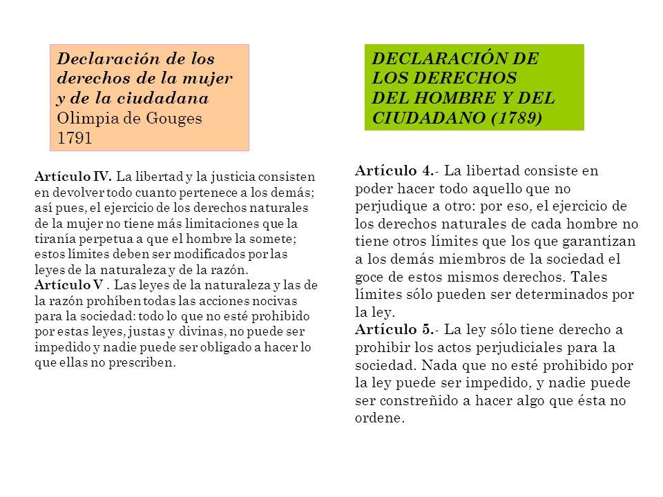DECLARACIÓN DE LOS DERECHOS DEL HOMBRE Y DEL CIUDADANO (1789) Artículo IV. La libertad y la justicia consisten en devolver todo cuanto pertenece a los