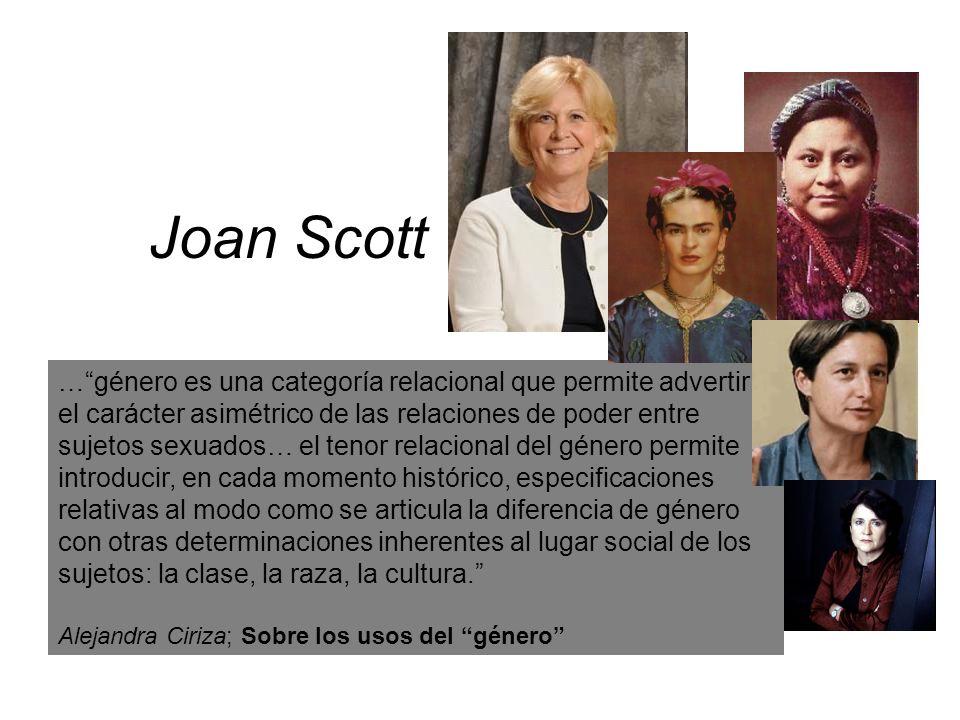 Joan Scott …género es una categoría relacional que permite advertir el carácter asimétrico de las relaciones de poder entre sujetos sexuados… el tenor