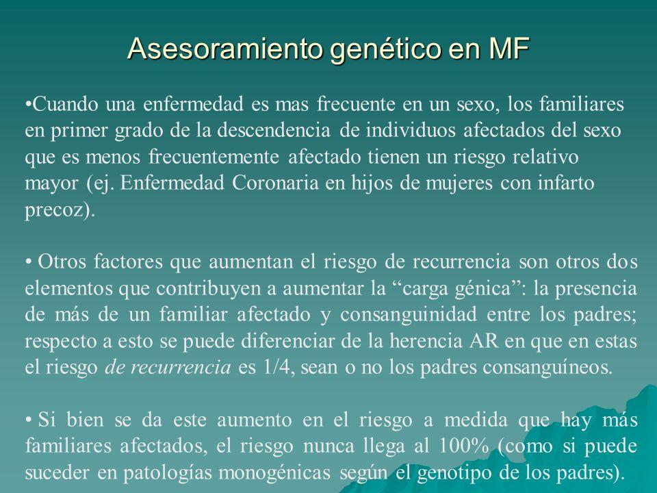 Asesoramiento genético en MF Cuando una enfermedad es mas frecuente en un sexo, los familiares en primer grado de la descendencia de individuos afectados del sexo que es menos frecuentemente afectado tienen un riesgo relativo mayor (ej.