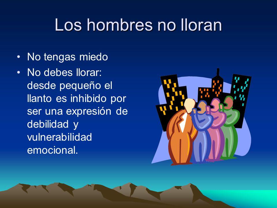 Prohibiciones impuestas a los hombres desde lo cultural: No te doblegues al dolor No pidas nunca ayuda No tocar: no mimarse y no permitir que te mimen