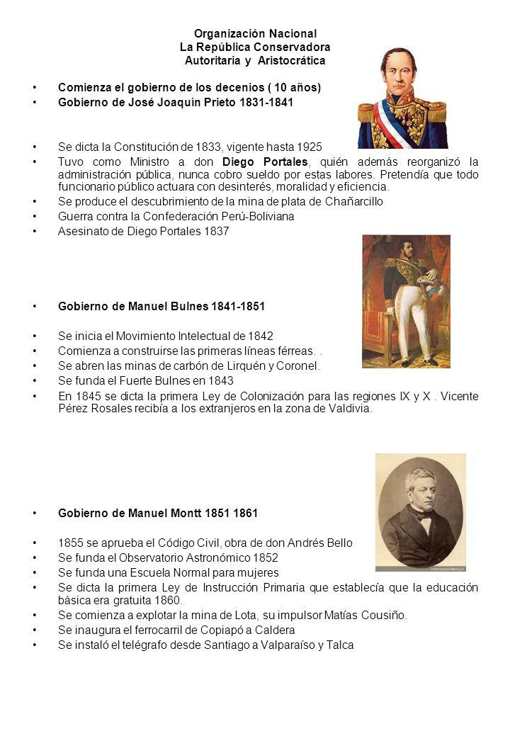 Organización Nacional La República Conservadora Autoritaria y Aristocrática Comienza el gobierno de los decenios ( 10 años) Gobierno de José Joaquín P