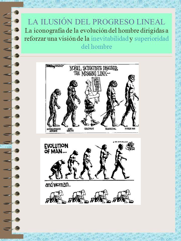 LA ILUSIÓN DEL PROGRESO LINEAL La iconografía de la evolución del hombre dirigidas a reforzar una visión de la inevitabilidad y superioridad del hombre