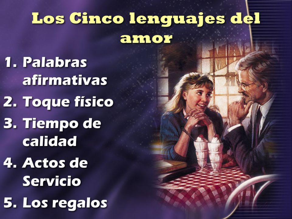 Los Cinco lenguajes del amor 1.Palabras afirmativas 2.Toque físico 3.Tiempo de calidad 4.Actos de Servicio 5.Los regalos 1.Palabras afirmativas 2.Toqu