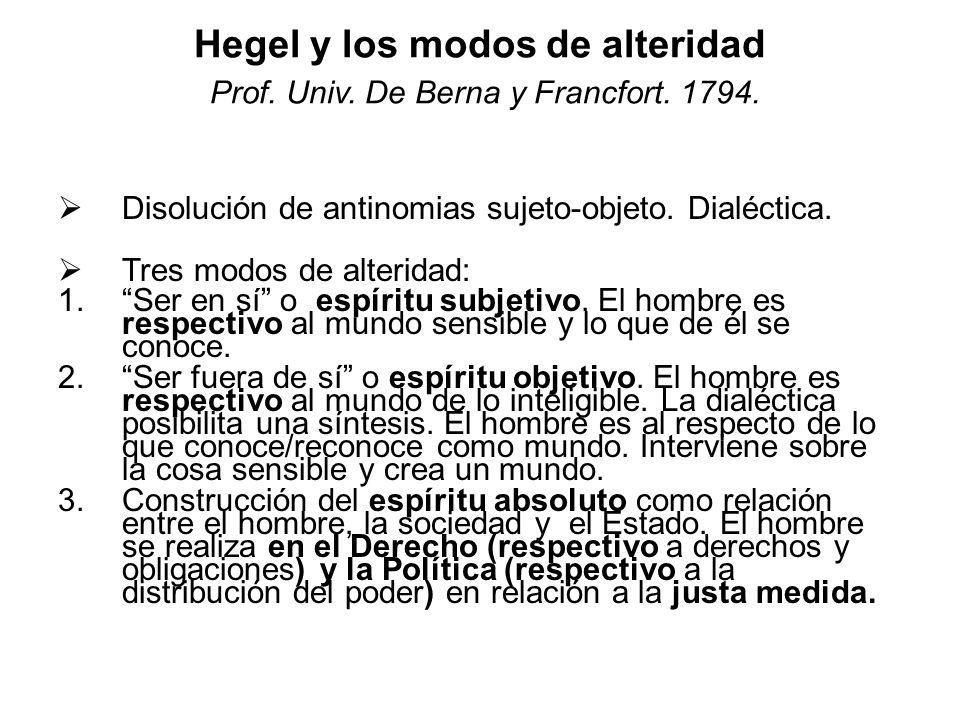 Hegel y los modos de alteridad Prof. Univ. De Berna y Francfort. 1794. Disolución de antinomias sujeto-objeto. Dialéctica. Tres modos de alteridad: 1.