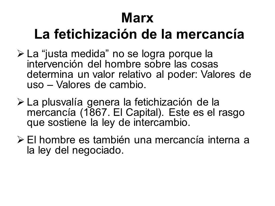 Marx La fetichización de la mercancía La justa medida no se logra porque la intervención del hombre sobre las cosas determina un valor relativo al poder: Valores de uso – Valores de cambio.