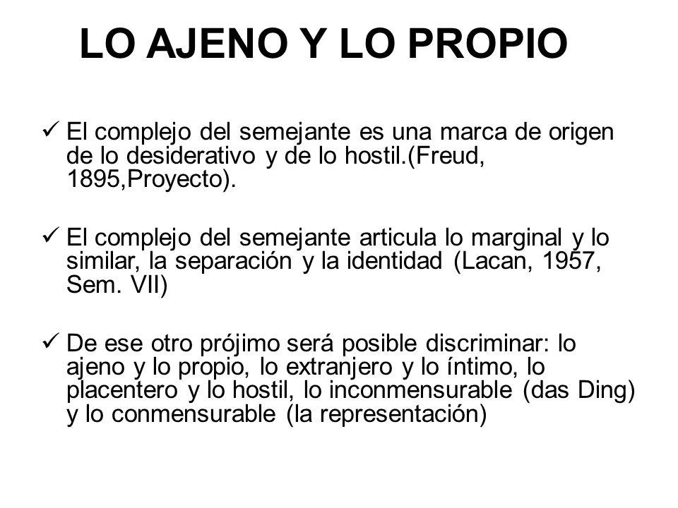 LO AJENO Y LO PROPIO El complejo del semejante es una marca de origen de lo desiderativo y de lo hostil.(Freud, 1895,Proyecto). El complejo del semeja