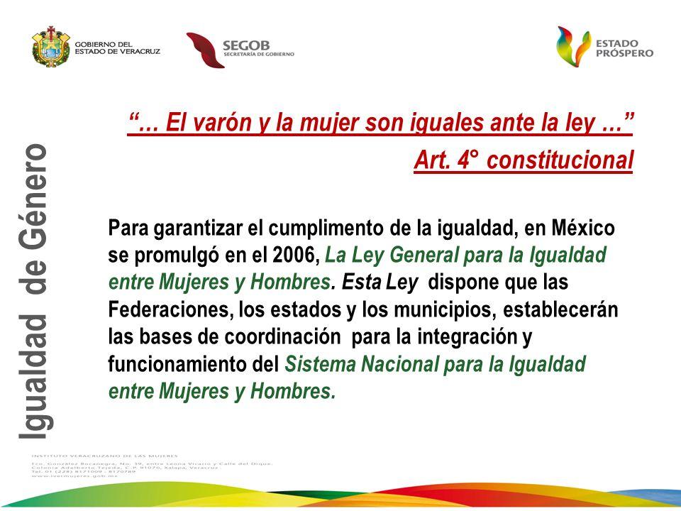 … El varón y la mujer son iguales ante la ley … Art. 4° constitucional Para garantizar el cumplimento de la igualdad, en México se promulgó en el 2006
