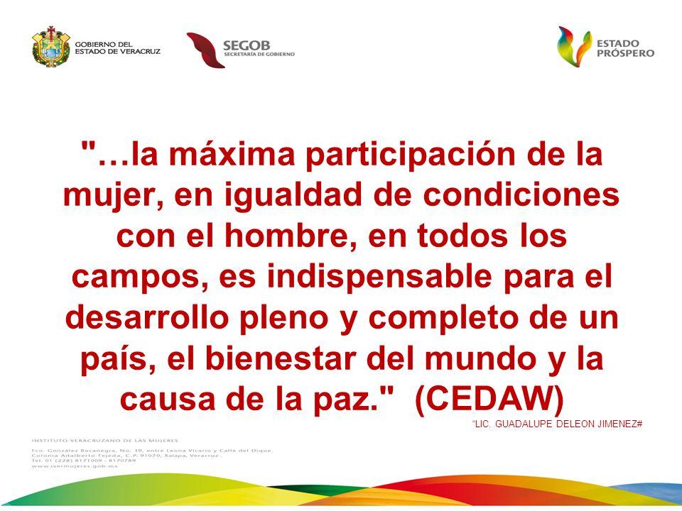 …la máxima participación de la mujer, en igualdad de condiciones con el hombre, en todos los campos, es indispensable para el desarrollo pleno y completo de un país, el bienestar del mundo y la causa de la paz. (CEDAW) LIC.