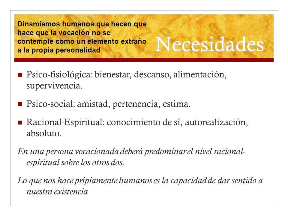 Necesidades Psico-fisiológica: bienestar, descanso, alimentación, supervivencia. Psico-social: amistad, pertenencia, estima. Racional-Espiritual: cono
