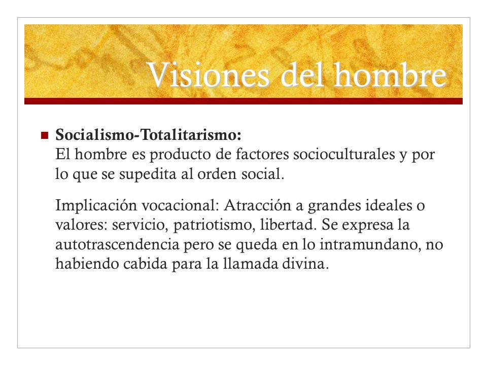 Visiones del hombre Socialismo-Totalitarismo: El hombre es producto de factores socioculturales y por lo que se supedita al orden social. Implicación