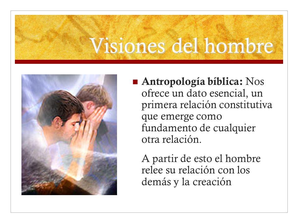 Visiones del hombre Antropología bíblica: Nos ofrece un dato esencial, un primera relación constitutiva que emerge como fundamento de cualquier otra r
