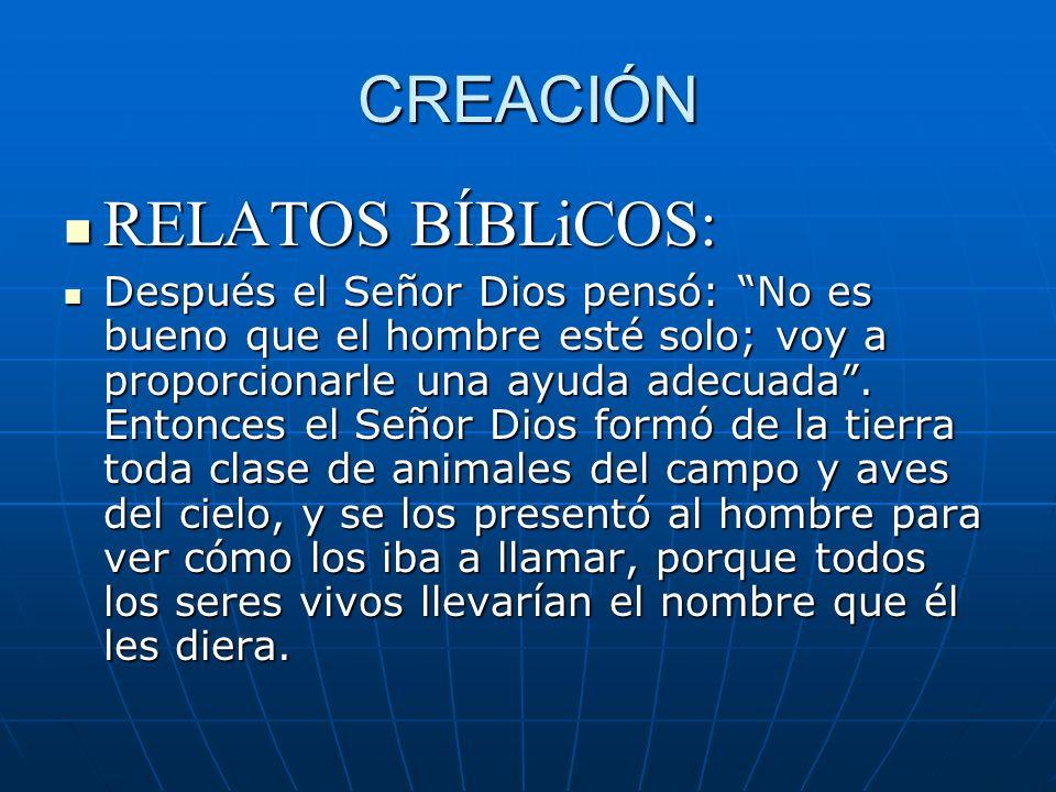 CREACIÓN RELATOS BÍBLiCOS: RELATOS BÍBLiCOS: Después el Señor Dios pensó: No es bueno que el hombre esté solo; voy a proporcionarle una ayuda adecuada