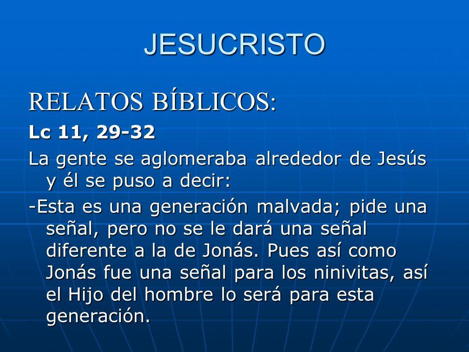 JESUCRISTO RELATOS BÍBLICOS: Lc 11, 29-32 La gente se aglomeraba alrededor de Jesús y él se puso a decir: -Esta es una generación malvada; pide una se