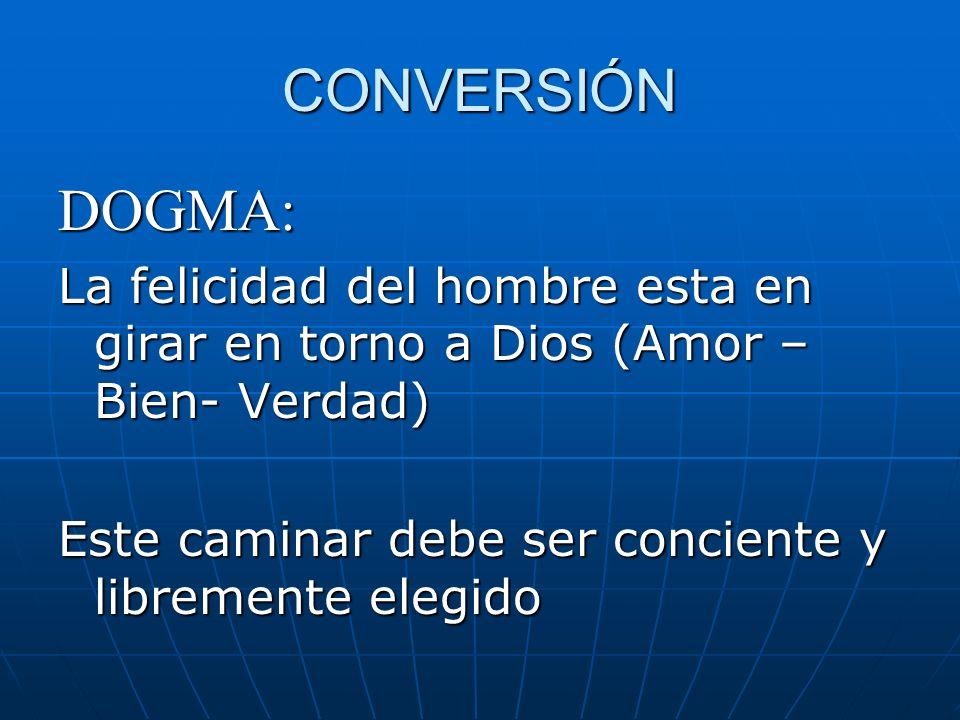 CONVERSIÓN DOGMA: La felicidad del hombre esta en girar en torno a Dios (Amor – Bien- Verdad) Este caminar debe ser conciente y libremente elegido