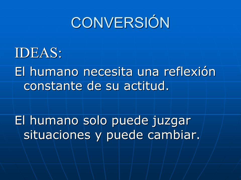 CONVERSIÓN IDEAS: El humano necesita una reflexión constante de su actitud. El humano solo puede juzgar situaciones y puede cambiar.