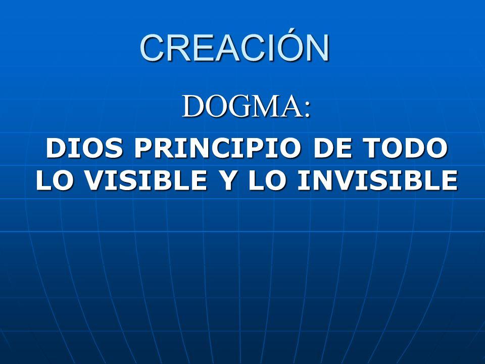 CREACIÓN DOGMA: DIOS PRINCIPIO DE TODO LO VISIBLE Y LO INVISIBLE