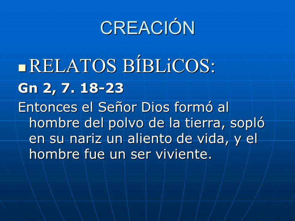 CREACIÓN RELATOS BÍBLiCOS: RELATOS BÍBLiCOS: Gn 2, 7. 18-23 Entonces el Señor Dios formó al hombre del polvo de la tierra, sopló en su nariz un alient