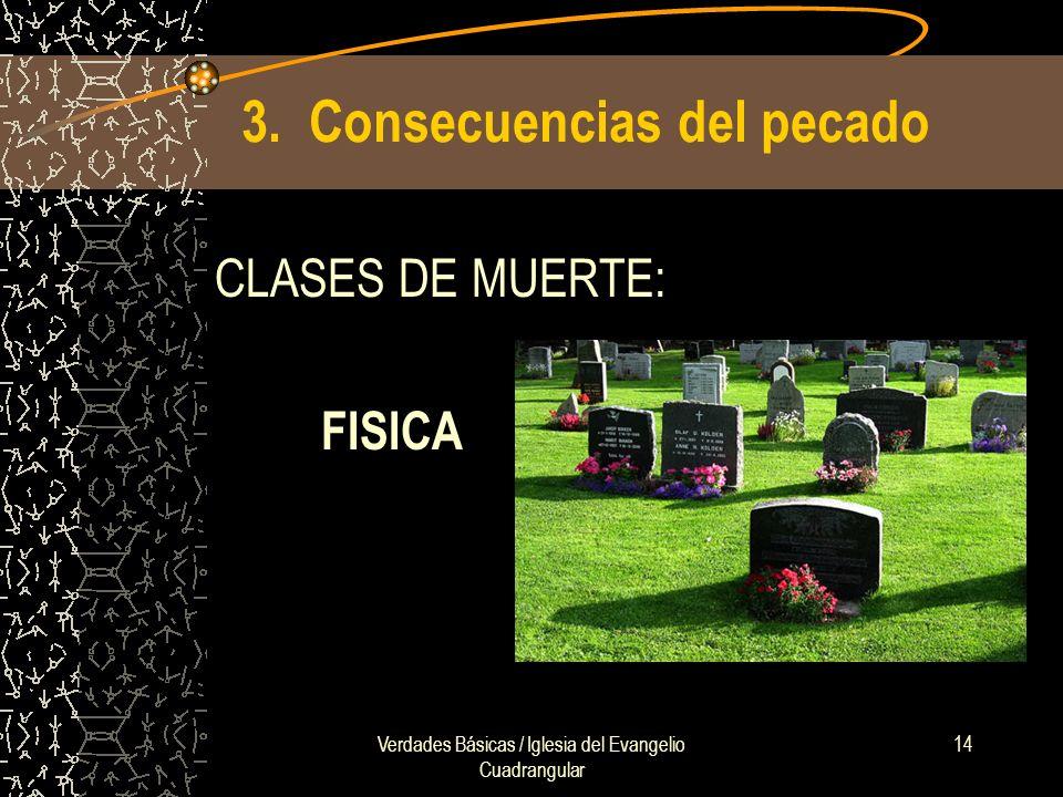 Verdades Básicas / Iglesia del Evangelio Cuadrangular 14 3. Consecuencias del pecado CLASES DE MUERTE: FISICA