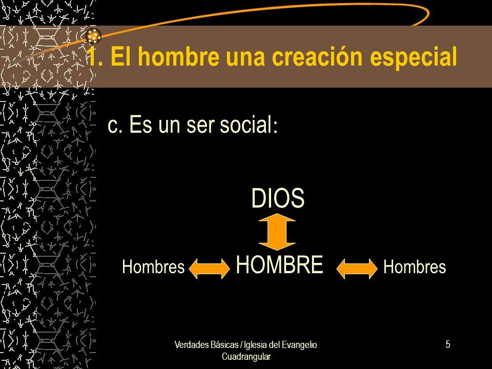 Verdades Básicas / Iglesia del Evangelio Cuadrangular 5 1. El hombre una creación especial c. Es un ser social : DIOS Hombres HOMBRE Hombres