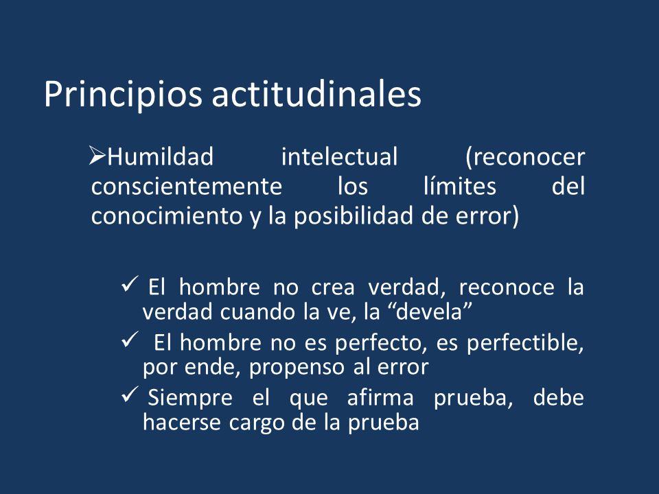 Principios actitudinales Humildad intelectual (reconocer conscientemente los límites del conocimiento y la posibilidad de error) El hombre no crea ver