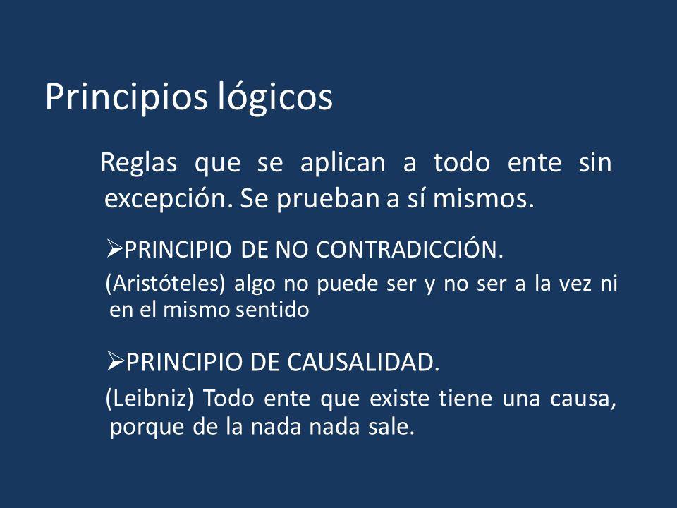 Principios lógicos Reglas que se aplican a todo ente sin excepción. Se prueban a sí mismos. PRINCIPIO DE NO CONTRADICCIÓN. (Aristóteles) algo no puede