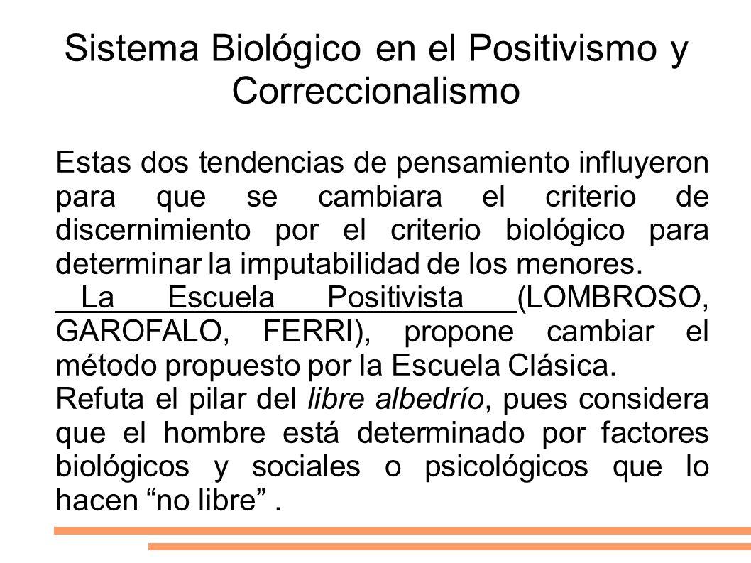 Sistema Biológico en el Positivismo y Correccionalismo Estas dos tendencias de pensamiento influyeron para que se cambiara el criterio de discernimien