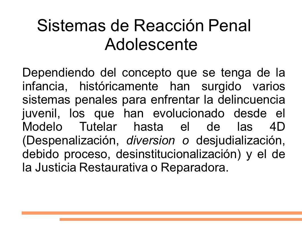 Sistemas de Reacción Penal Adolescente Dependiendo del concepto que se tenga de la infancia, históricamente han surgido varios sistemas penales para e