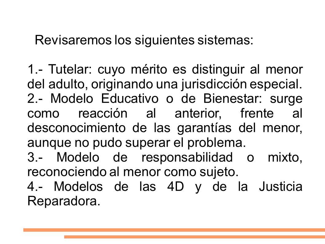 Revisaremos los siguientes sistemas: 1Revisaremos los siguientes sistemas: 1.- Tutelar: cuyo mérito es distinguir al menor del adulto, originando una