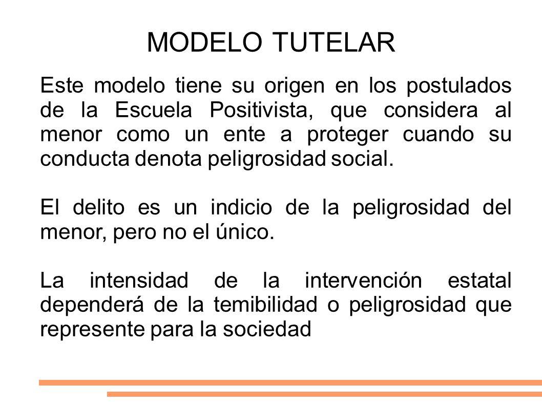MODELO TUTELAR Este modelo tiene su origen en los postulados de la Escuela Positivista, que considera al menor como un ente a proteger cuando su condu