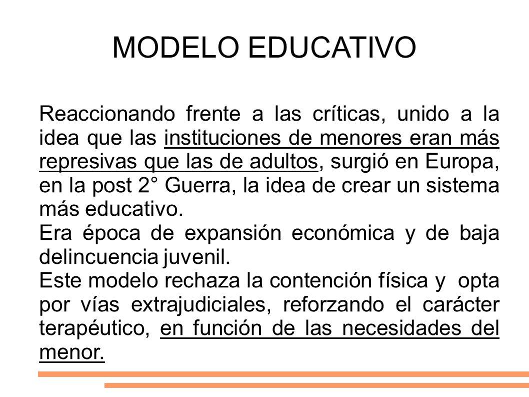 MODELO EDUCATIVO Reaccionando frente a las críticas, unido a la idea que las instituciones de menores eran más represivas que las de adultos, surgió e