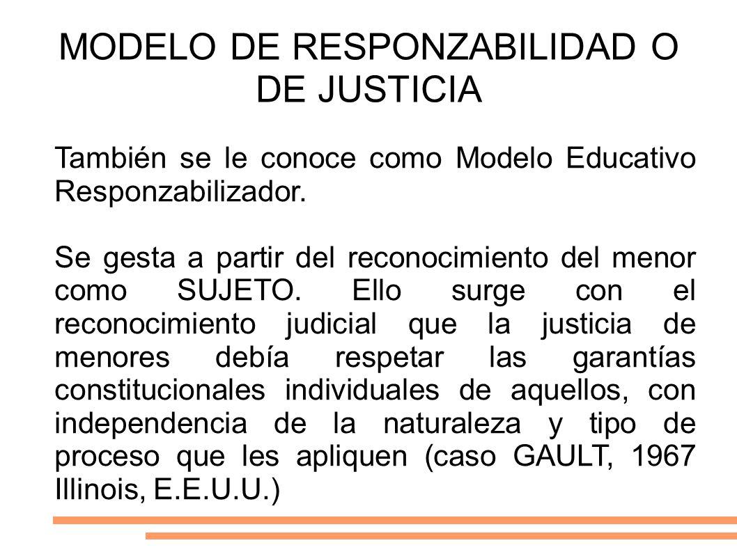 MODELO DE RESPONZABILIDAD O DE JUSTICIA También se le conoce como Modelo Educativo Responzabilizador. Se gesta a partir del reconocimiento del menor c