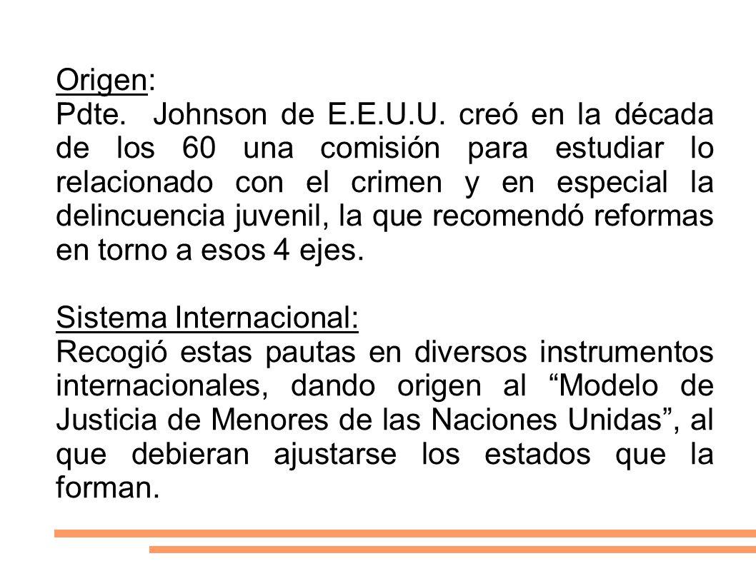 Origen: Pdte. Johnson de E.E.U.U. creó en la década de los 60 una comisión para estudiar lo relacionado con el crimen y en especial la delincuencia ju