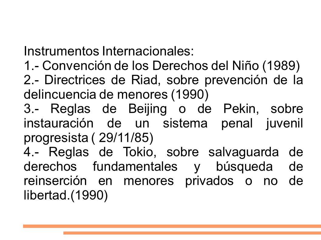 Instrumentos Internacionales: 1.- Convención de los Derechos del Niño (1989) 2.- Directrices de Riad, sobre prevención de la delincuencia de menores (