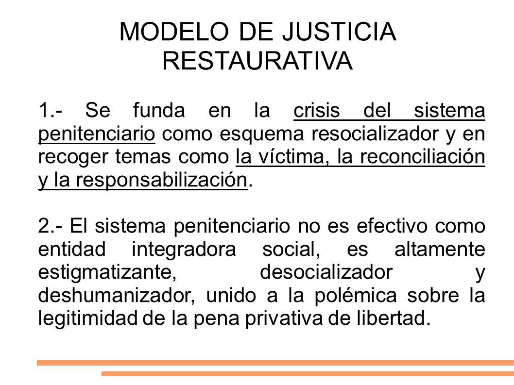 MODELO DE JUSTICIA RESTAURATIVA 1.- Se funda en la crisis del sistema penitenciario como esquema resocializador y en recoger temas como la víctima, la
