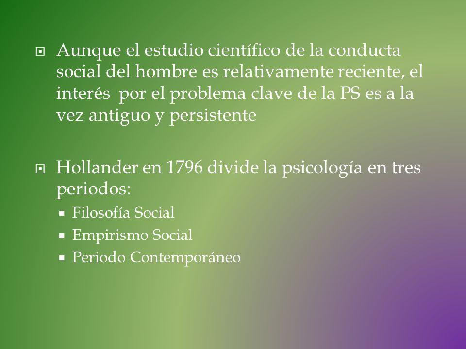 Aunque el estudio científico de la conducta social del hombre es relativamente reciente, el interés por el problema clave de la PS es a la vez antiguo
